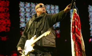 Jay-Z opening his set at Glastonbury 2008.